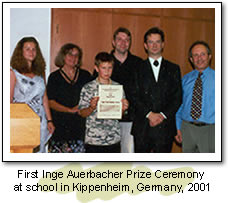 First Inge Auerbacher Prize Ceremony at school in Kippenheim, Germany 2001.