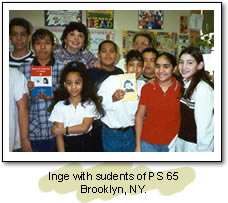 Inge with students of PS 65. Brooklyn, NY.